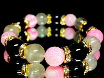 クラウディークォーツ§ピンクファイアーアゲート§§オニキス10ミリ金ロンデル数珠