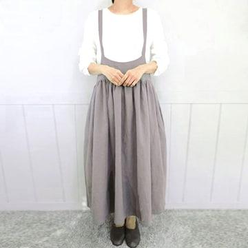 新品[7699](5XL)グレー★サロペット風可愛いロングスカート