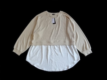 新品 ANGELINA ベージュ 裾シャツ レイヤード ニット セーター