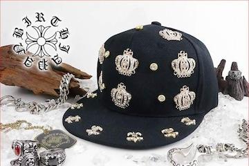 送料無料 スタッズキャップ/オラオラ系ヤンキーチンピラ メンナク HIPHOP/B系帽子92黒