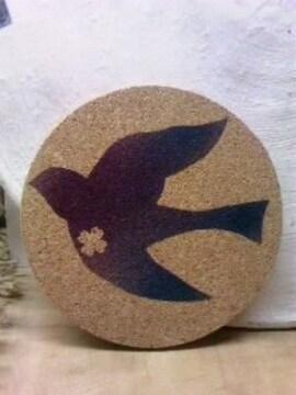 自作イラストハンドメイドコルクコースター36/鳥/花