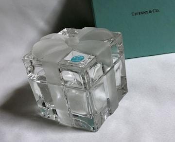 正規未レア TIFFANYティファニー プレゼントBOX×リボンクリスタル 小物入れ 置物