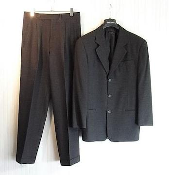 size46☆良品☆アルマーニ黒ラベル 3釦スーツ チャコール