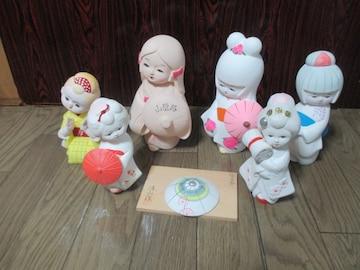 民芸品 陶器製 博多人形 6点 絵日傘 安来節 等 置物