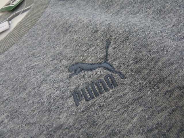 送料込(M 灰)プーマ スウェット ヘザークルー 572179 丸首長袖裏起毛トレーナー < ブランドの