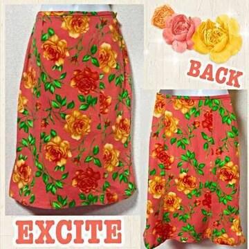 【EXCITE】コーラルオレンジ薔薇柄マーメイド膝丈スカート