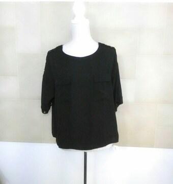 新品 胸ポケット付きブラウス 黒シャツ