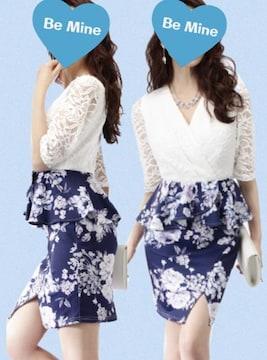 キャバパーティー白レース&ネイビーペプラムドレス(L)新品