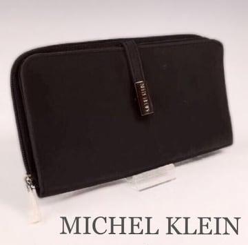 MICHEL KLEINミシェルクラン  ロゴ入りプレート長財布 Black