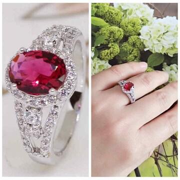 指輪18KRGPプラチナ高級CZ赤ワイン色彩石リングyu1058e