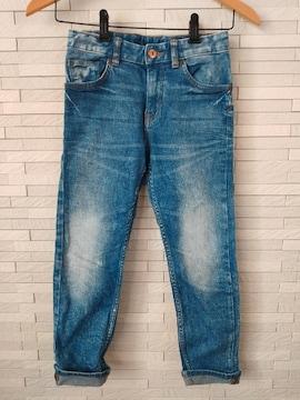H&M/ケミカルウォッシュ/ストレッチスキニーデニム/ブルー/130