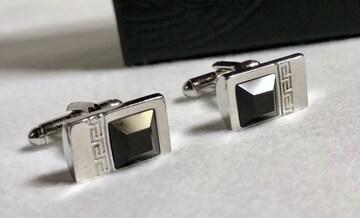 正規美 ヴェルサーチVERSACE グレカ Gロゴ×立体カフス ボタン黒×クローム カフリンクス