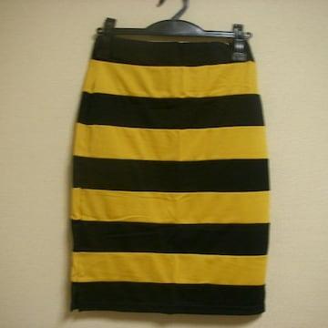 らくちん 配色 スカート M ウエスト64-70 膝丈