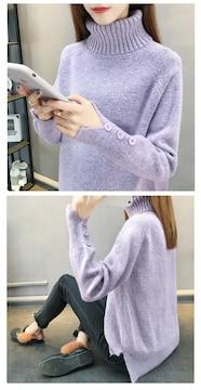 新品個性的ゆったりカシミヤタッチ裾袖スリット使いセーター