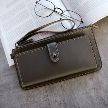 新品シンプルデザインジップ&2つ折り長財布グレー灰色レディース