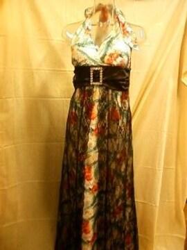新品☆M☆キレイな柄の黒のチュールがキレイなロングドレス☆マキシ☆f692