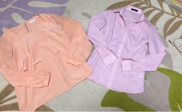 コムサ comme ca ピンク ストライプ  シャツ スーツ春服トップス