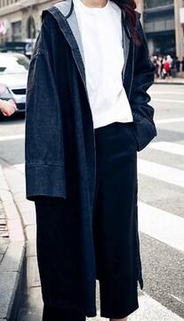 新品 フート付デニム ロングコート ゆったりフリーサイズ