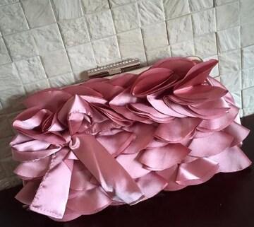 新品 リボン&フリルモチーフ パーティーバッグ ピンク