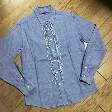 美品nano universe デザインシャンブレーシャツ ナノ