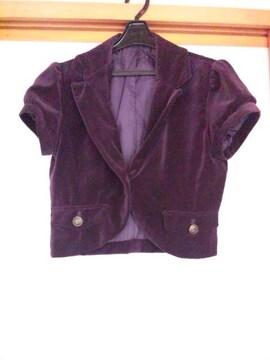 ビロード 半袖 ミニ丈 ジャケット M 紫 アウター N2m オシャレアイテムに!