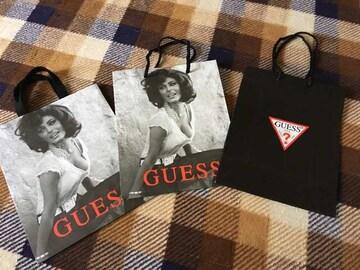ゲスGUESSショップ袋紙袋ショッパー 3枚セット