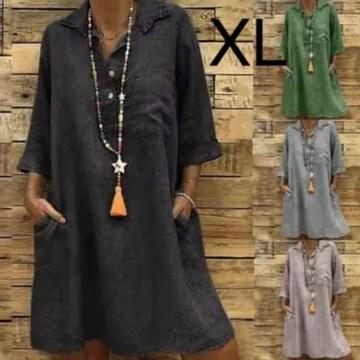 新品☆シンプルゆったり♪シャツワンピース ブラック XL