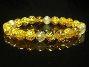 金運パワーストーン タイチンルチル×シトリンクラックブレスレット 最強天然石数珠