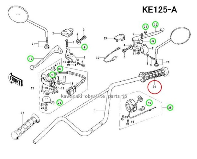 KM90 G4TR KV75 KS125 F6〜F11 スロットル・グリップ 絶版 < 自動車/バイク