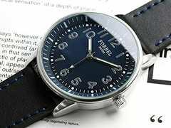 !電池切れ新品!フォーベルミリタリーブルー文字盤スイス腕時計