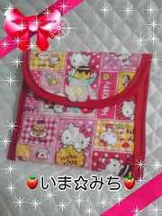 ハローキティ★小物入れポーチ★編みお花付★ハンドメイド★ピンク系