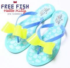 H003)定価3800円FREE FISH&KITTYコラボビーチサンダルハローキティ23.5cm24cm