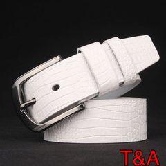 高品質 クロコダイル 革光沢 カジュアルレザーベルト 白色