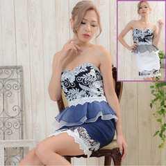 妖艶★花柄レース 豪華ビジュー キャバドレス ミニスカート ベアトップ 大人の女