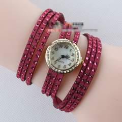 新品びっしりラインストーン多重巻きブレスレット腕時計ピンク桃レディース
