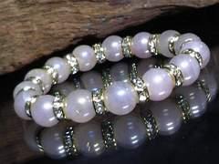 フラッシュローズクォーツ10ミリ金ロンデル数珠