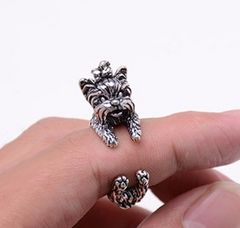 新品アンティーク調ヨークシャテリア犬さんリング指輪12号