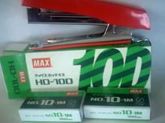 マックス ホッチキス 1個 赤朱色 HD-10D 未使用 針千本