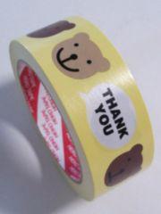 重ね貼りOK★シナモンベア☆サンキューロゴ入★キュートプリントテープ