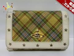 ヴィヴィアンウエストウッド 2つ折り財布 イエロー×ライトグリーン×マルチ スター/チェック柄
