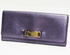 PRADA プラダ 二つ折り長財布 レザー 紫系良品 正規品