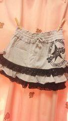 新品◆インナーパンツ付ミニスカート◆140 グレー キュロット