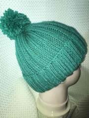 手編みニット帽子 エメラルドグリーン