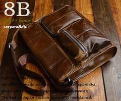 ◆牛本革 クロムレザー マチ有フリップ式ショルダーバッグ◆b48