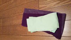 パステルミントグリーン・紫ラメタイツ 靴下*洒落