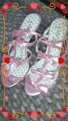 新品 ピンク色のリボン甘ロリ姫ミュール〓〓