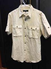美品コムサイズムCOMME CA ISMシャツ半袖tミリタリー夏ベージュ