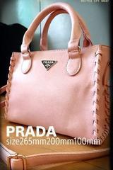 PRADA italy流行りの2way小ぶりレザーバッグ春夏ピンク色 新品