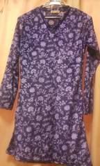薄手ベロア花柄チュニックワンピース細身Mサイズ長袖
