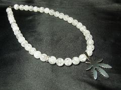リゾートオラオラ系!!!マリファナトップ×爆裂クラック水晶数珠ネックレス!!